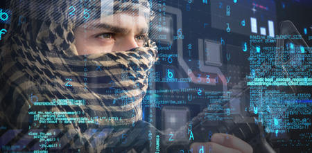 cyber war: Close up of soldier with rifle looking away against virus background Stock Photo