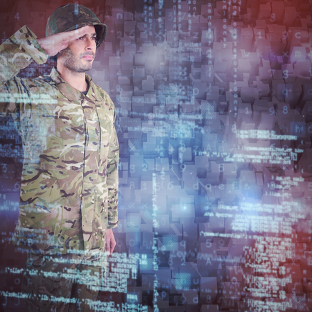 Confident military soldier saluting against graphic image of blocks
