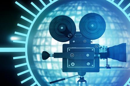 Zwarte cirkel met tak tegen wereld gemaakt van verlichte digitale schermen