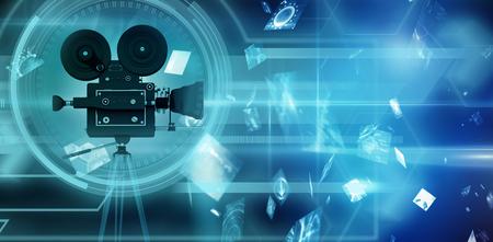 空飛ぶ赤いデジタル画面の抽象的なイメージに対するインターフェイス