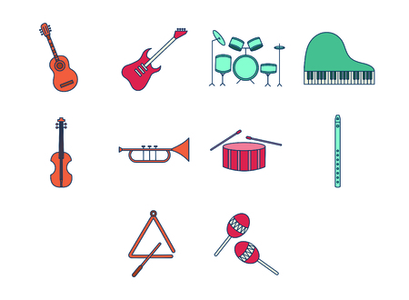 Vector set of musical instruments against white background
