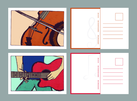 Illustration of postcard and artist playing guitar