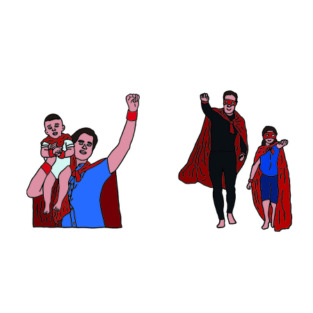 Vector icon set of dad and son in superhero costume against white background
