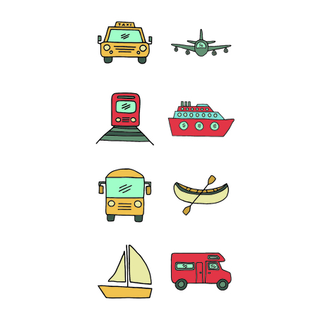 Vector icon set of transportation means against white background Фото со стока - 80680498