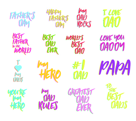 Vector icon set of fathers day text