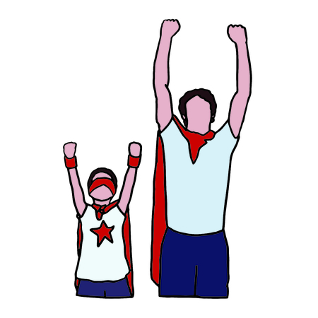 Vector icon set of dad and son in superhero costume