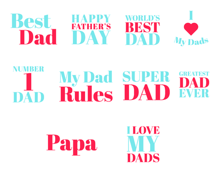 Vector icon set of fathers day text against white background Illustration