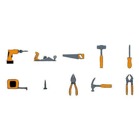 assortment: Vector icon set of carpentry tools against white background