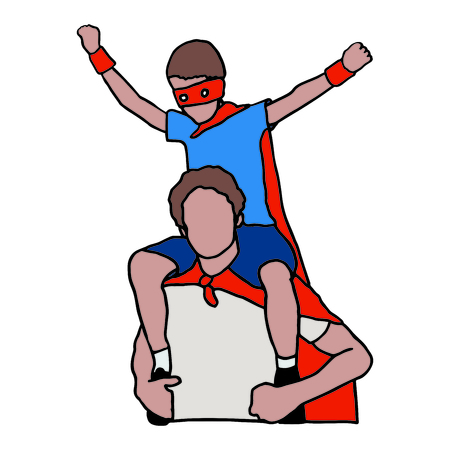 Vector icon set of dad and son in superhero costume 版權商用圖片 - 80706067