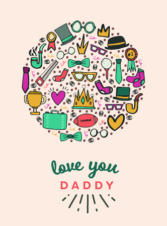 Vector icon set of fathers day greeting card Illustration