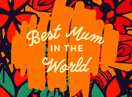 Vector of mothers day card with best mum in the world message