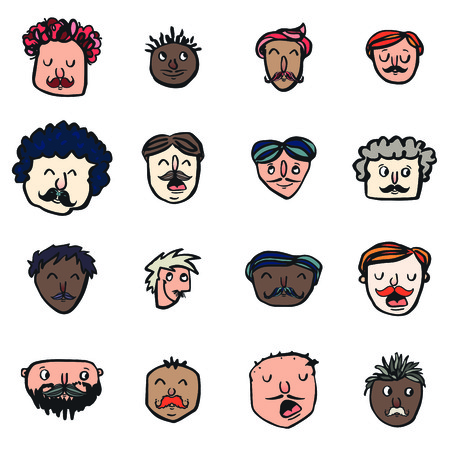 Vector icon set of dad faces against