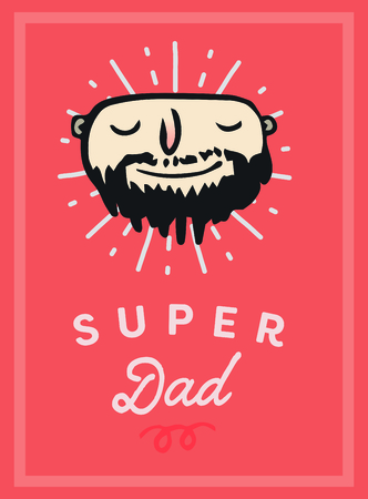 Vector icon set of fathers day greeting card against white background