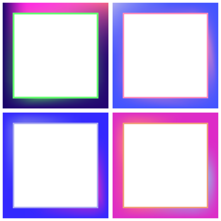 ombre: Vector icon set for neon frames against white background