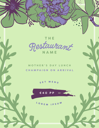 parenthood: Vector of mothers day card with the restaurant name message Illustration