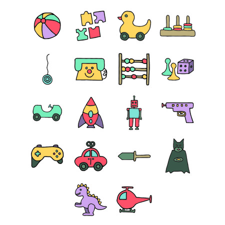 Vectors icons of various toys against white background