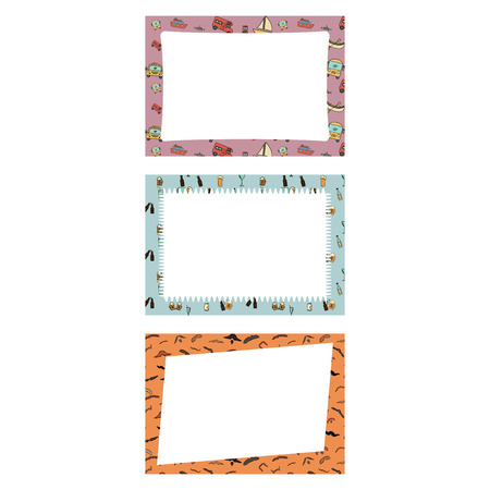 dcor: Vector set of frames with vintage icons against white background