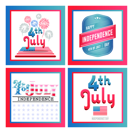 Vector set of independence day celebration against white background