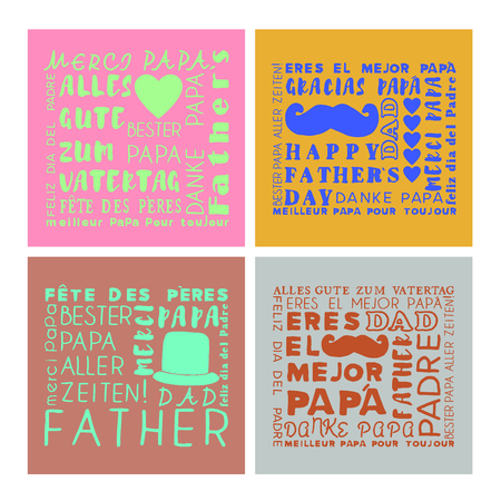 parenthood: Vector set of greeting card of fathers day on white background