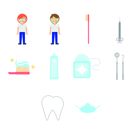 surgical equipment: Vector set of dentist and dental equipments against white background