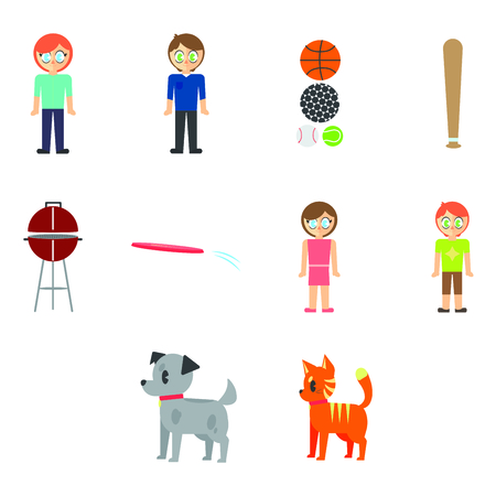 Vector set of family and pet against white background Illustration