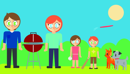 cookout: Vector set of family and pet in park