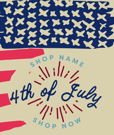 Vector of greeting card with fourth of july message Illustration