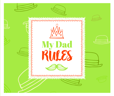 Vector of greeting card with fathers day message against white background