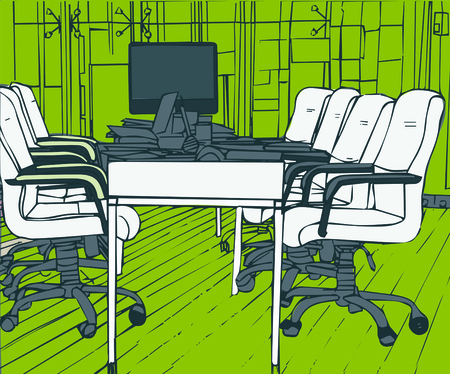 Illustration of empty conference room in office