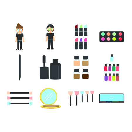 Vector set of essentials of photo studio against white background