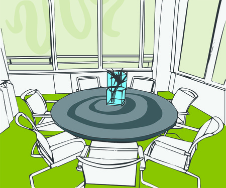 Illustration of interior of conference room at office