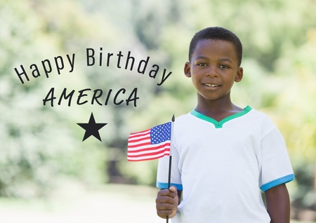 Digital composite of Grey fourth of July graphic next to boy holding american flag Stock Photo