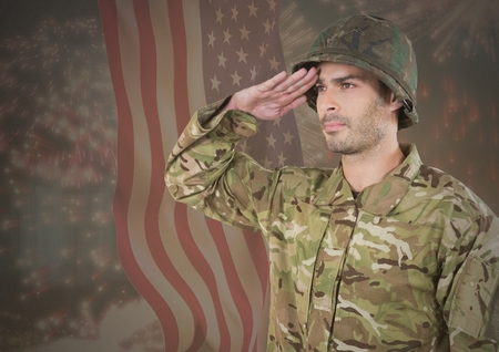 Digital composite of Military saluting against american flag Stock Photo