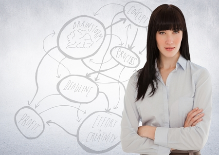 well dressed: Digital composite of Business woman arms folded against white wall with concept doodle Stock Photo