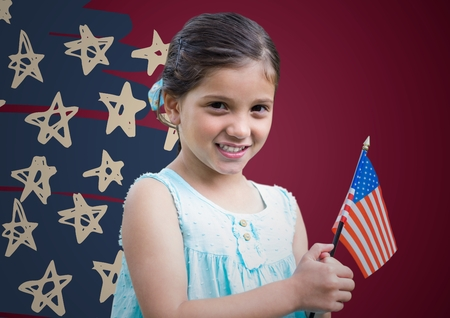 Digital composite of Girl holding american flag against maroon background with hand drawn star pattern