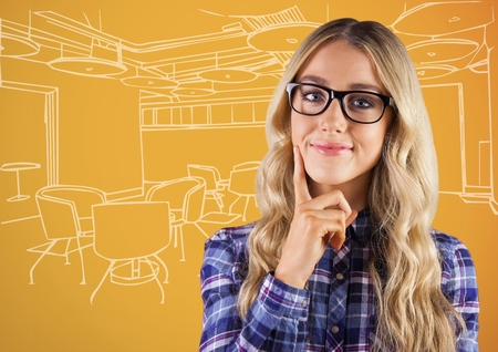 Digital composite of Millennial woman thinking against 3d orange and white hand drawn office Stock Photo