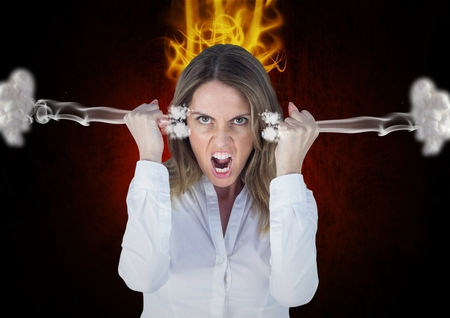 well dressed woman: Digital composite of anger young woman shouting with 3d steam on ears and fire on head. Black background Stock Photo