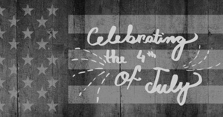 Digital composite of Light grey fourth of July party graphic against grey american flag on wood panel