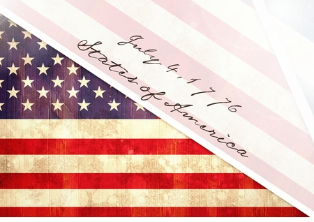 declaration of independence: Digital composite of Independence Day declaration with USA flag