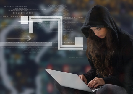 stealer: Digital composite of Woman hacker using a laptop in front of digital background Stock Photo