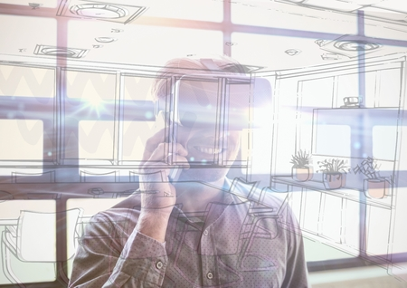 Digital composite of business young man with 3D glasses in the office overlap with  office lines Stock Photo