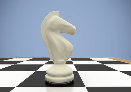computer animation: Digital composite of 3d Chess pieces against purple background