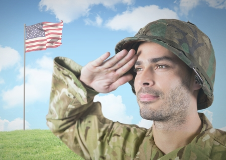 Digital composite of IMilitary saluting against 3d american flag