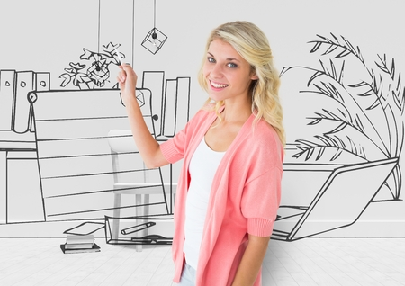 Digital composite of young woman drawing the 3D blueprint of her new office