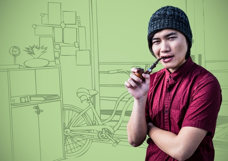 composite image: Digital composite of Millennial man smoking pipe against green 3d hand drawn office