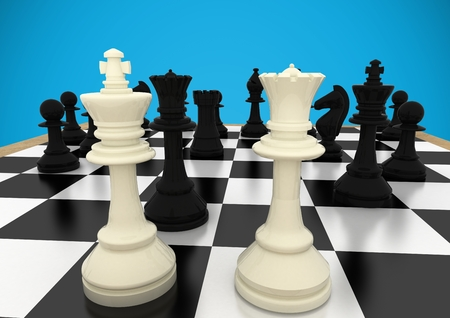 tactics: Digital composite of 3d Chess pieces against blue background