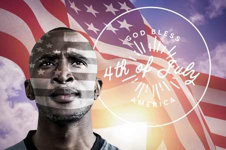 Digital composite of Black man with american flag fluttering in the wind on background Stock Photo