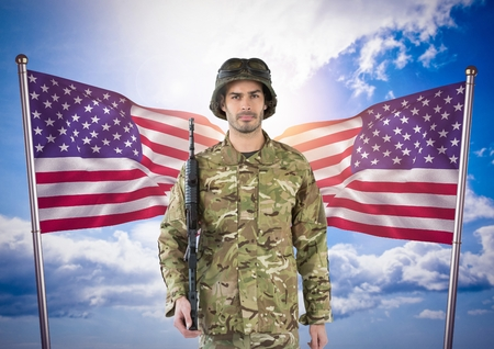 sergeant: Digital composite of Military holding a weapon against two american flags