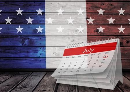 Digital composite of 3d July calendar against french falg
