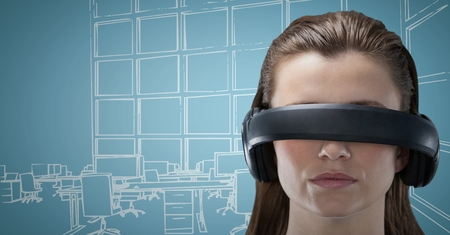 composite image: Digital composite of Woman in virtual reality headset against blue and white hand drawn office